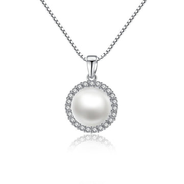 925 Sterling Silver CZ Diamond Shell Pearl Pendant