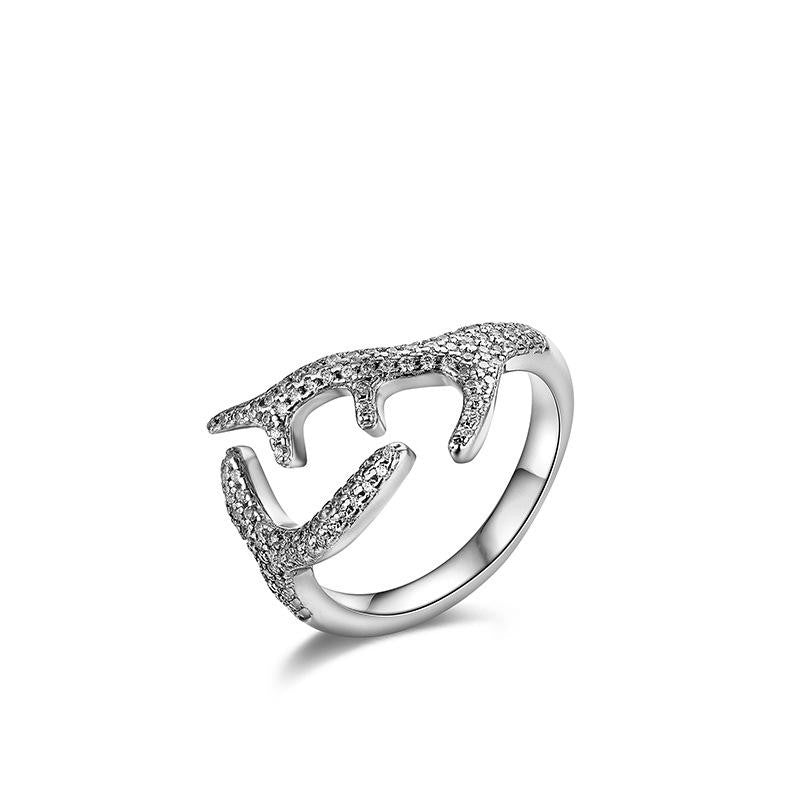 925 Sterling Silver Ring with CZ Diamond, Adjustable Opening Ring