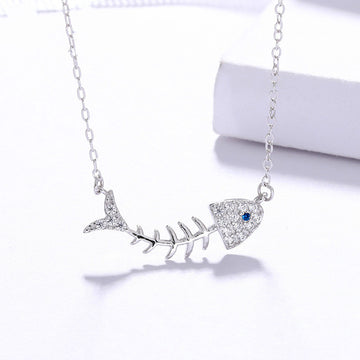 925 Sterling Silver CZ Diamond Fish Bone Pendant