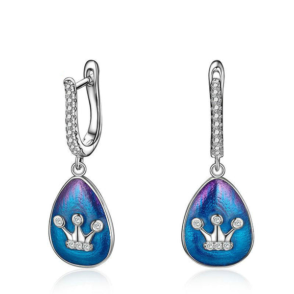 925 Sterling Silver  Enamel Crown Drop Earrings