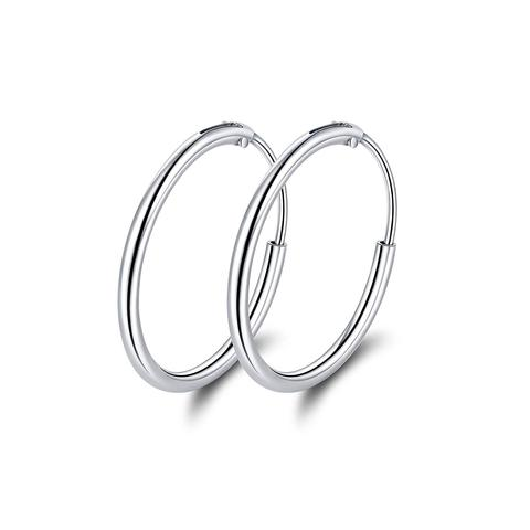 925 Sterling Silver Hoop Earrings, Circle Endless Earrings