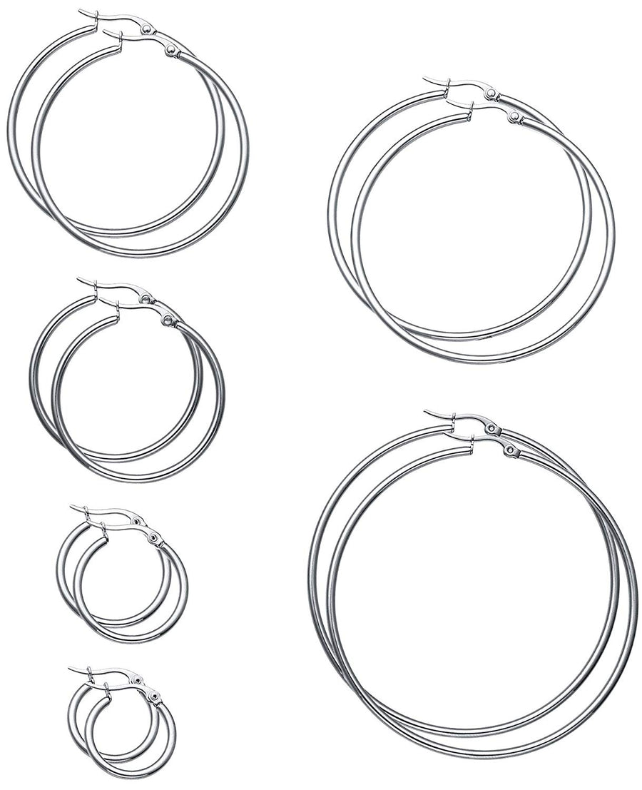 925 Sterling Silver  Hoop Earrings, 20-60MM