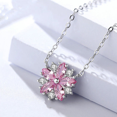 925 Sterling Silver With Cubic Zirconia,  Cherry Blossom  Pendant
