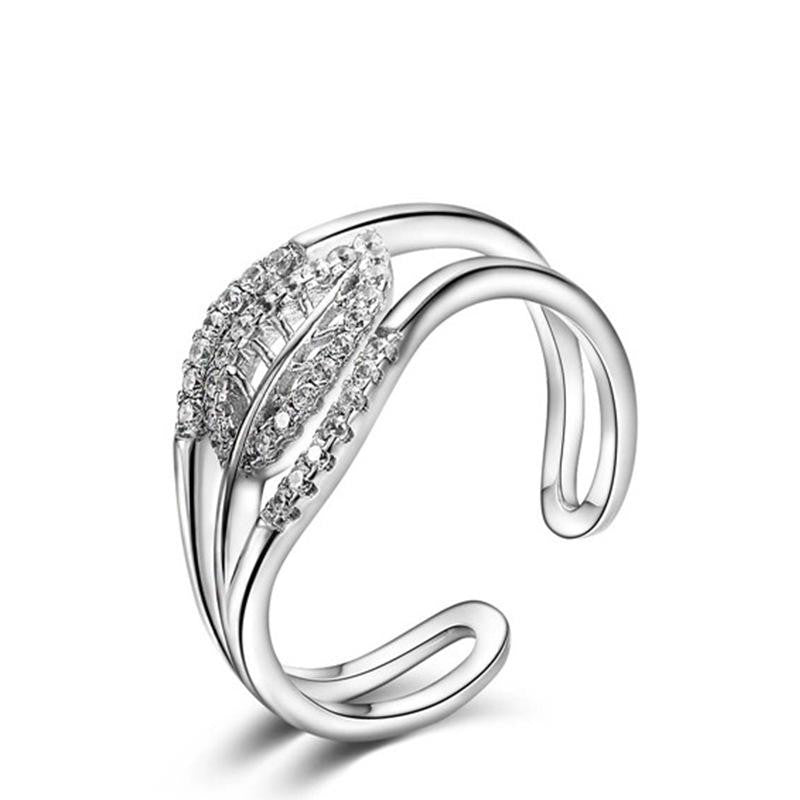 925 Sterling Silver Ring with CZ Diamond, Gold Plated Adjustable Opening Ring