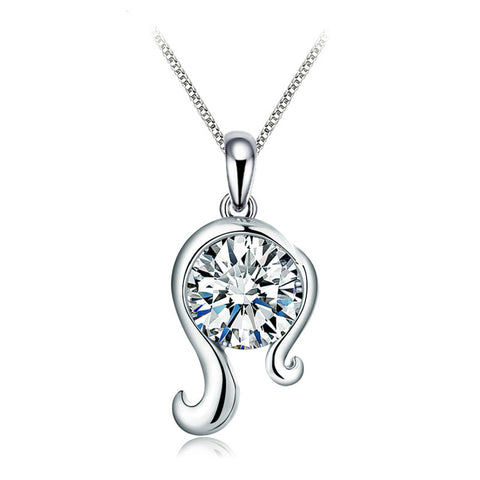 925 Sterling Silver CZ Diamond Virgo Pendant