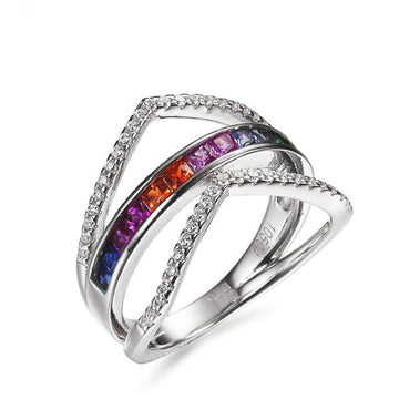 925 Sterling Silver Ring with CZ Diamond, Rhodium Plated  Ring
