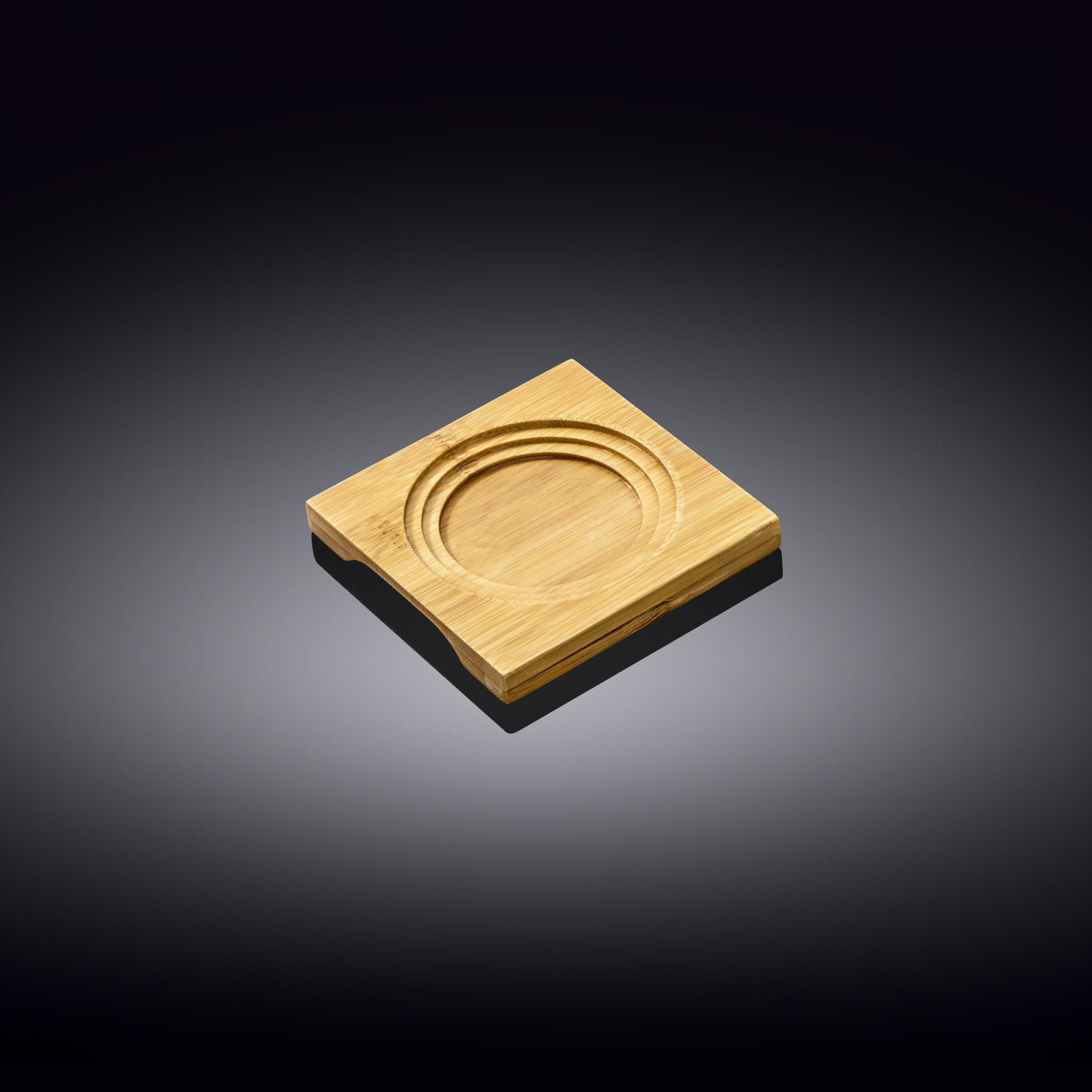 "NATURAL BAMBOO TRAY 4"" X 4"" 