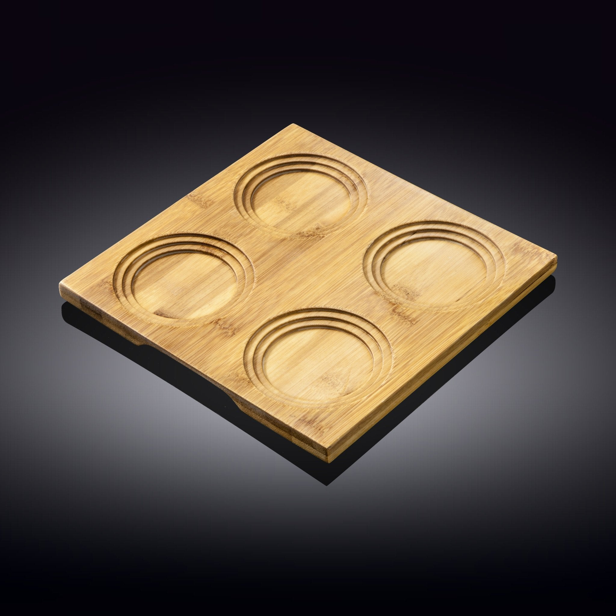 "NATURAL BAMBOO TRAY 7.75"" X 7.75"" 