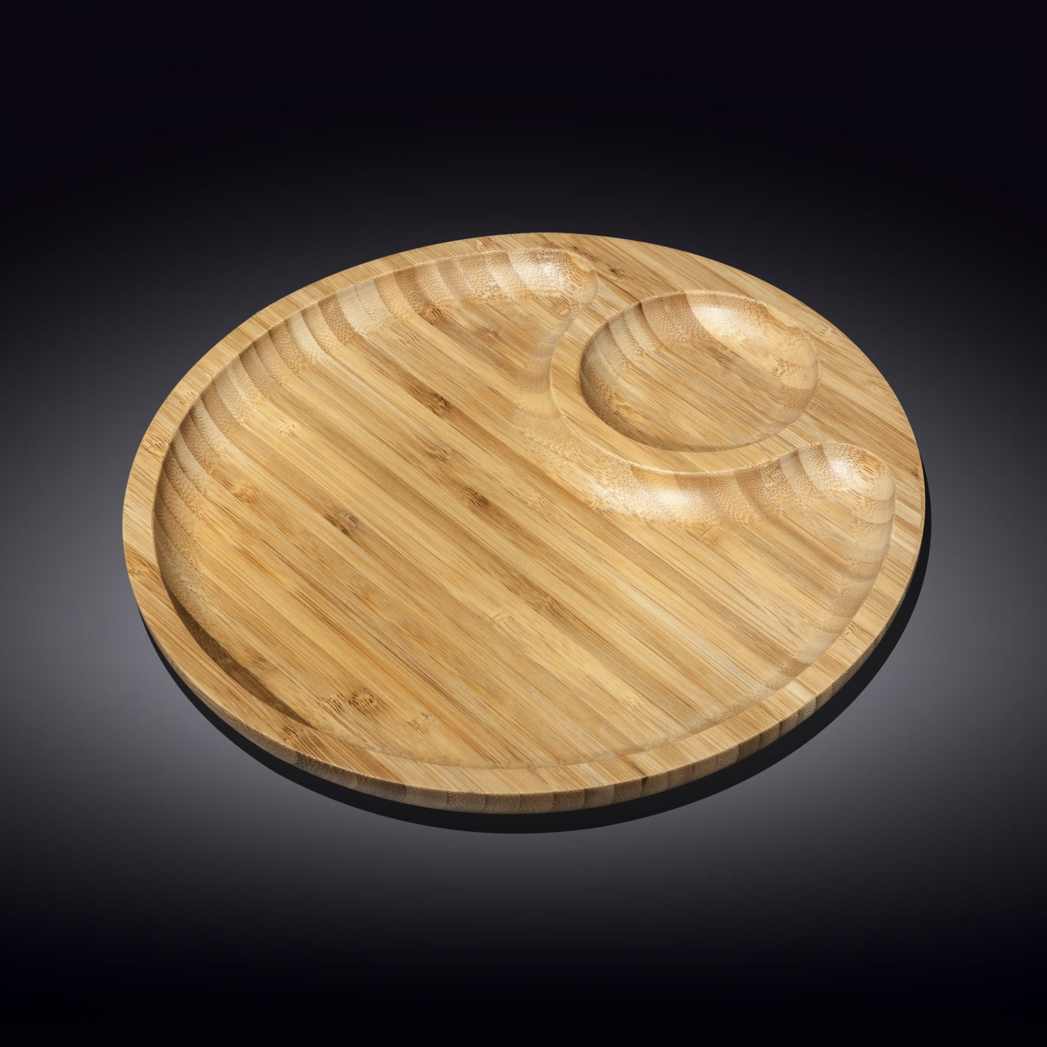 NATURAL BAMBOO 2 SECTION PLATTER 10"