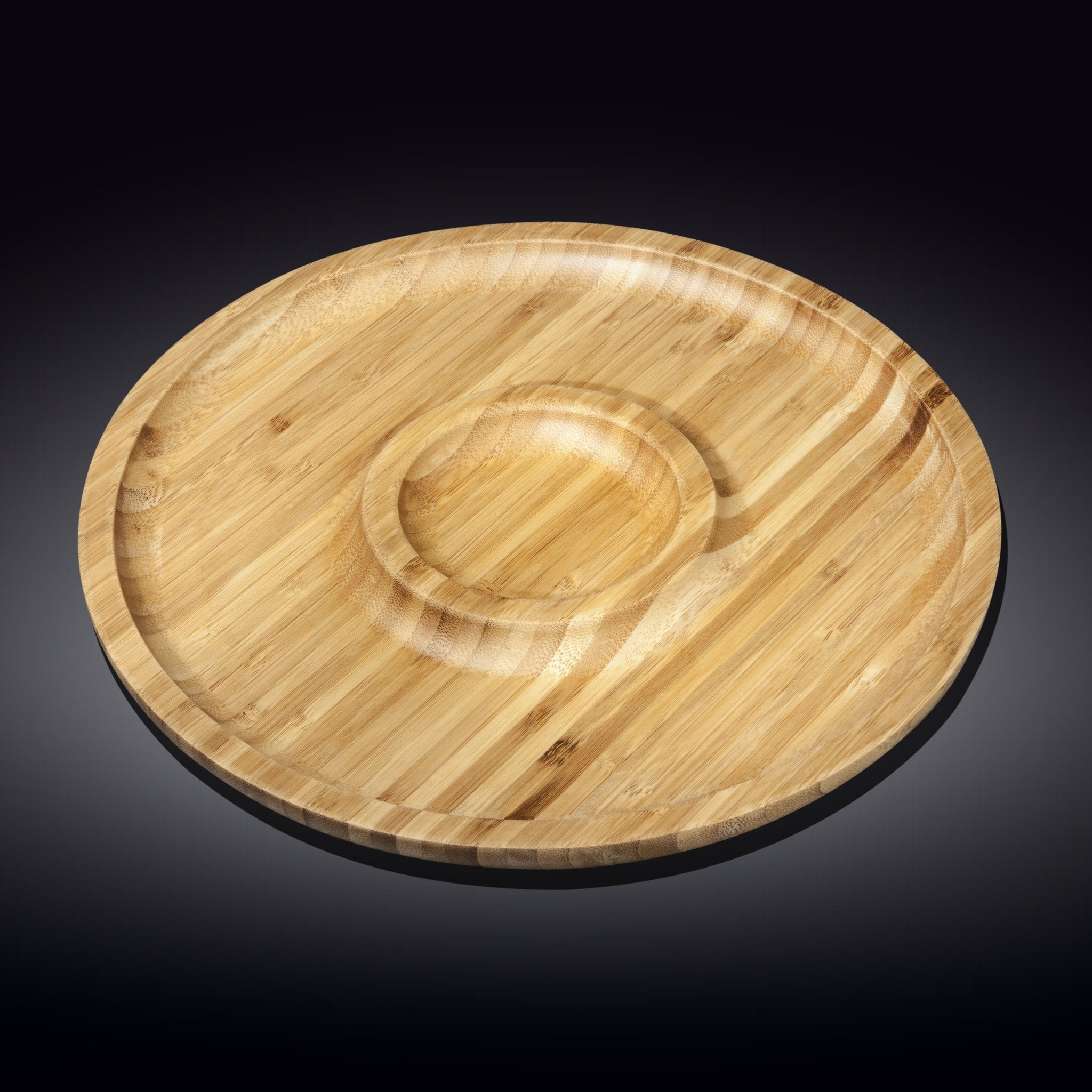 NATURAL BAMBOO 2 SECTION PLATTER 14"