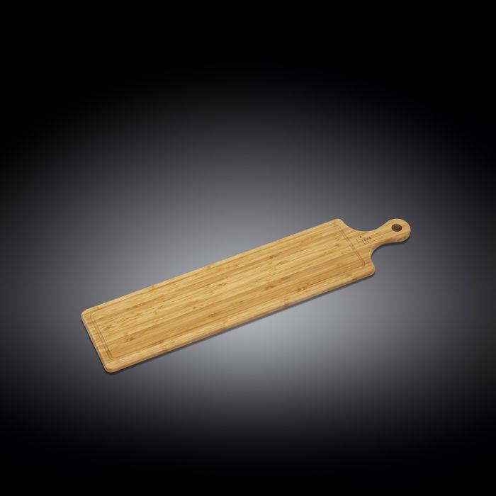 "NATURAL BAMBOO LONG SERVING BOARD WITH HANDLE 26"" X 5.9"" 