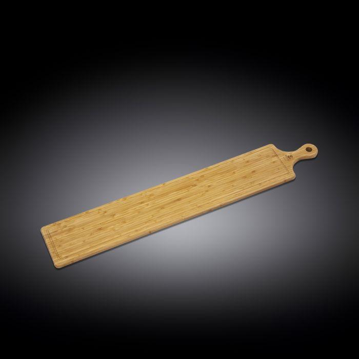 "NATURAL BAMBOO LONG SERVING BOARD WITH HANDLE 34.3"" X 5.9"" 