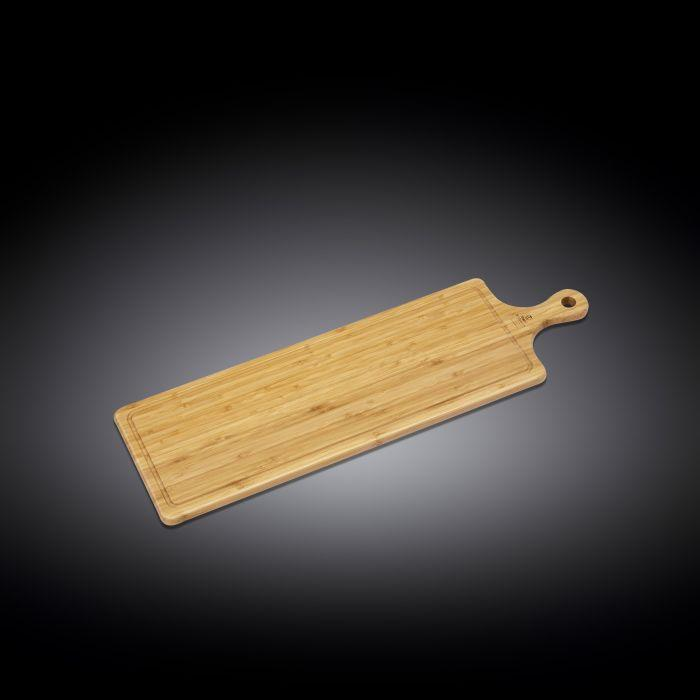 "NATURAL BAMBOO LONG SERVING BOARD WITH HANDLE 26"" X 7.9"" 