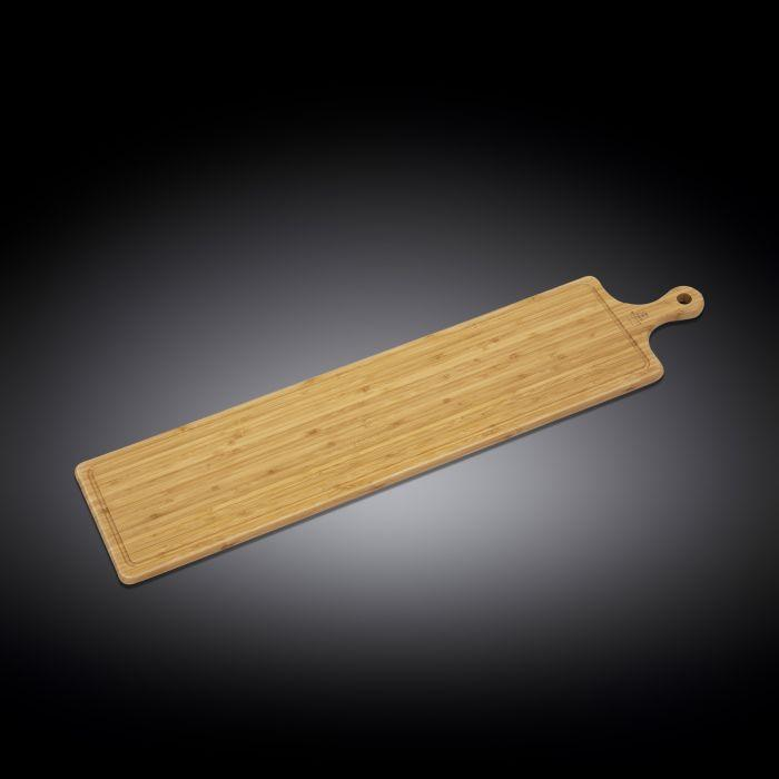 "NATURAL BAMBOO LONG SERVING BOARD WITH HANDLE 34.3"" X 7.9"" 
