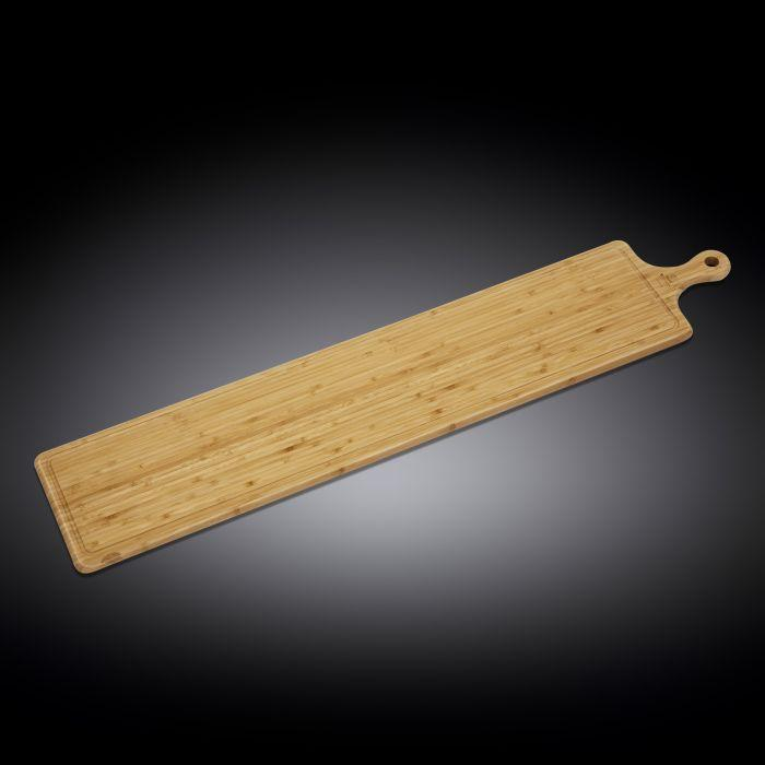 "NATURAL BAMBOO LONG SERVING BOARD WITH HANDLE 39.4"" X 7.9"" 