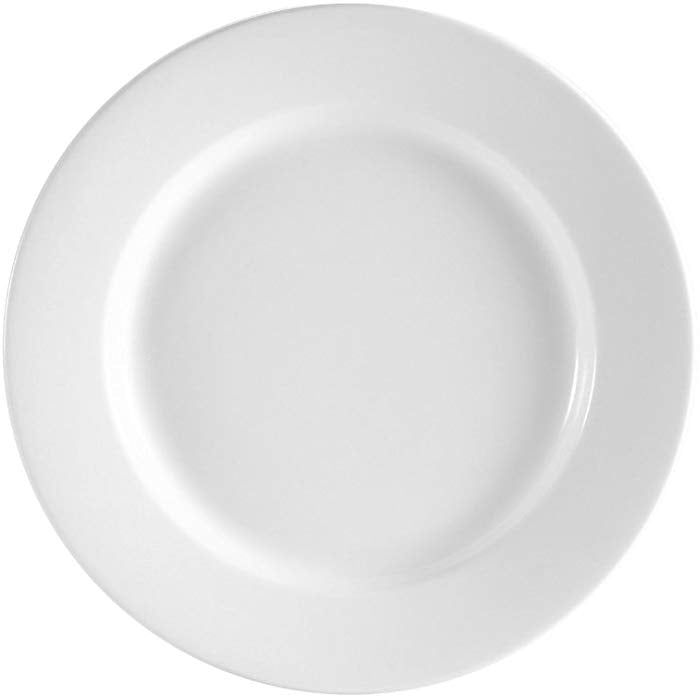 "[ Set Of 24 ] PLATE ROUND 9"" WIDE RIM / ROLLED EDGE ROMA BRIGHT WHITE"