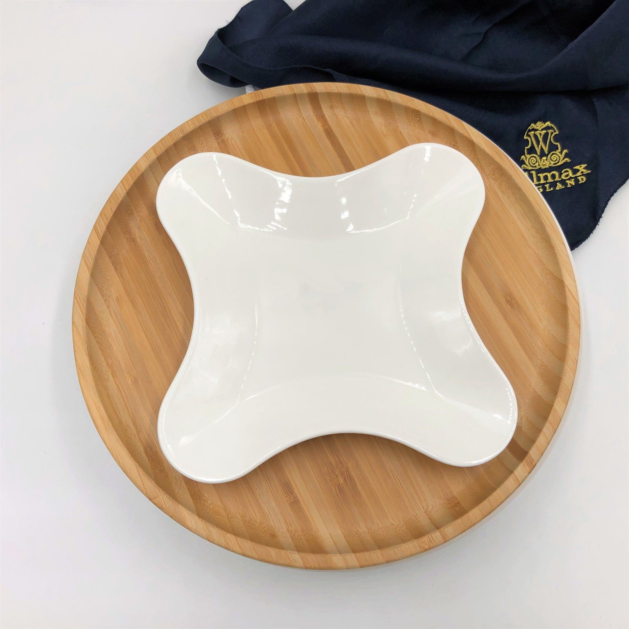 Bamboo And Fine Porcelain 4 Sided Star Dish/plate Setting WL-555069