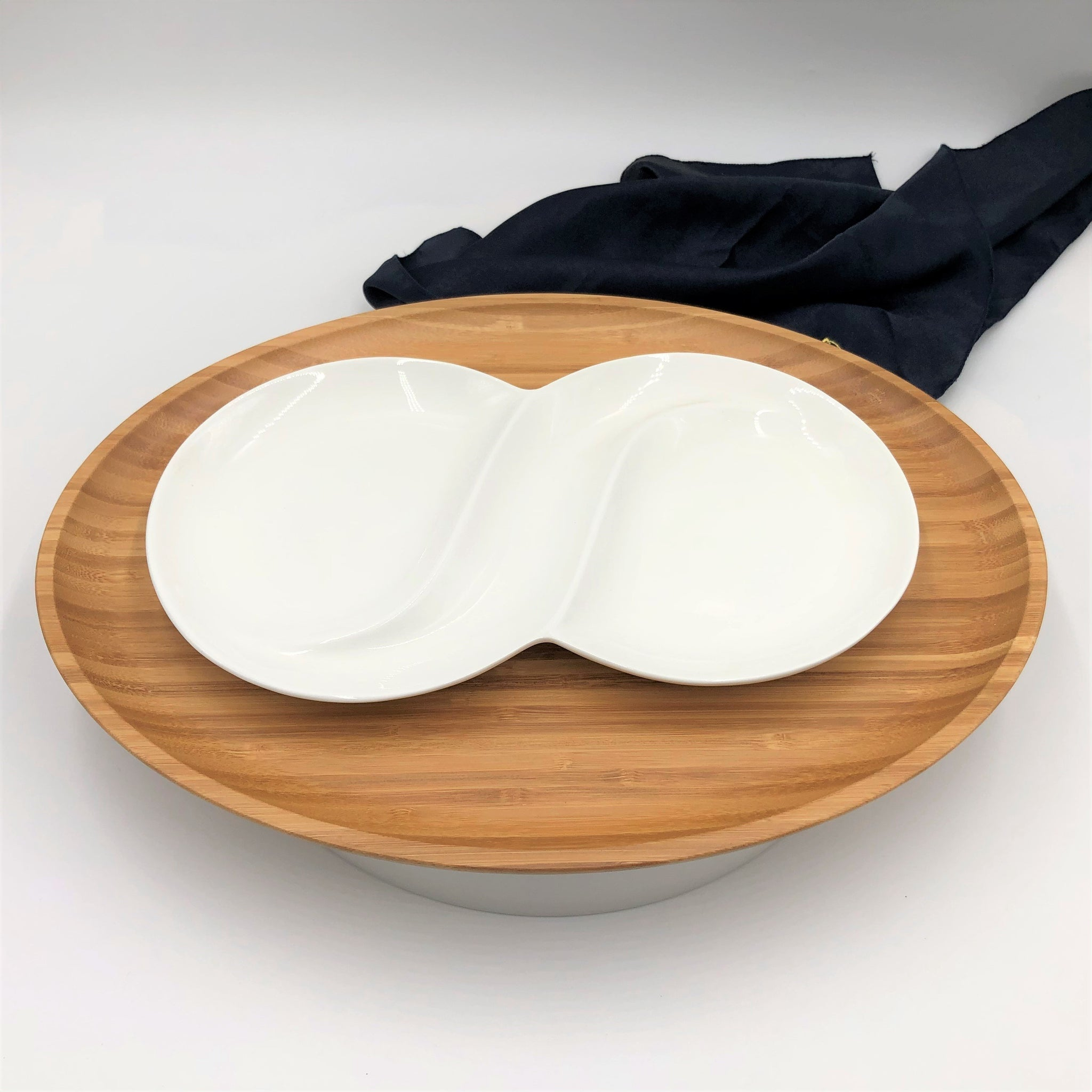 Bamboo And Fine Porcelain Oval Dish/plate Setting WL-555068