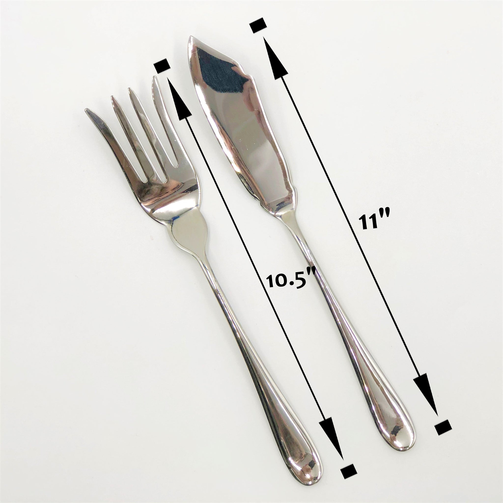 Stainless Steel Fish Serving Knife And Serving Fork Two (2) Piece Serving Set Great For Entertaining WL-555053