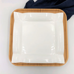 Square Bamboo And Fine Porcelain Contemporary Dinnerware Set  WL-555075