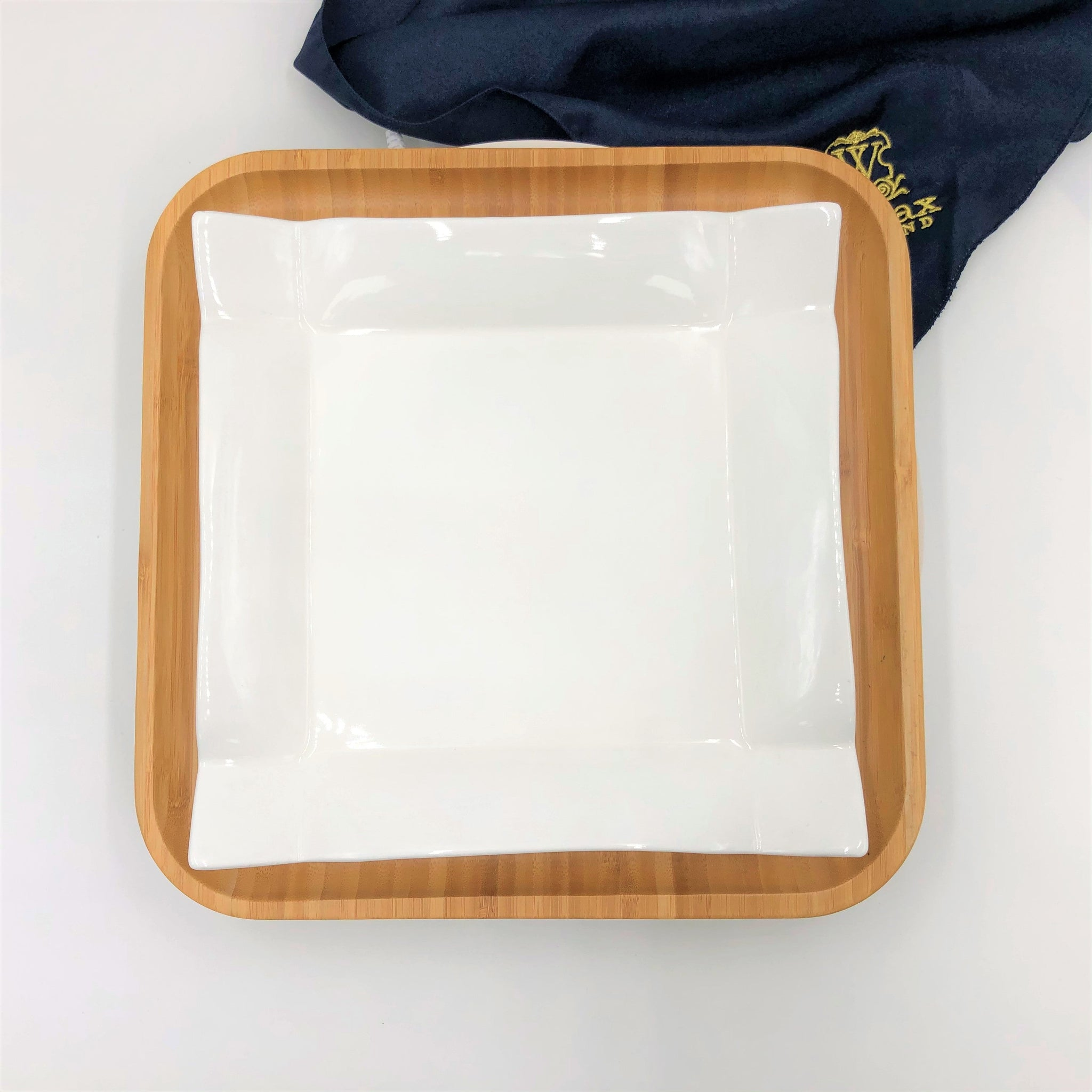 Square Bamboo And Fine Porcelain Contemporary Dinnerware Set  WL-555076
