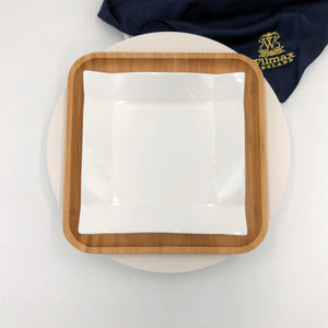 Square Bamboo And Fine Porcelain Contemporary Dinnerware Set Of 3 Sizes (6 Piece Set)  WL-555078