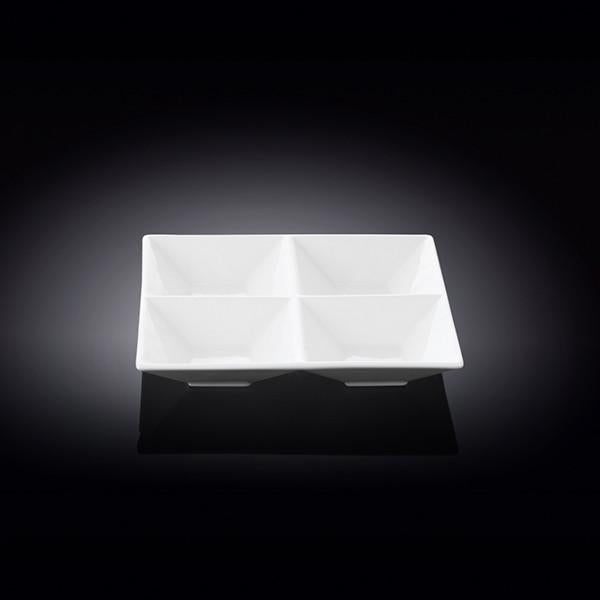 "FINE PORCELAIN DIVIDED SQUARE DISH  6"" X 6"" 