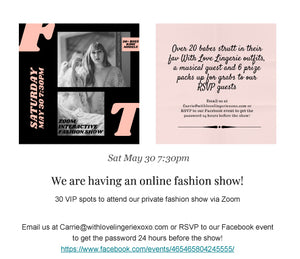 Sat May 30 2020: You're Invited to our Online Fashion Show Event