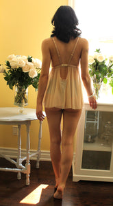 Le Fleur Vintage Inspired Mesh Sheer and Lace Babydoll Nightie