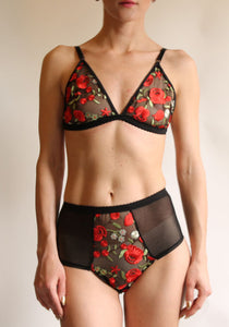 Unique and Romantic Red Rose Lace  and Sheer Mercy Bralette