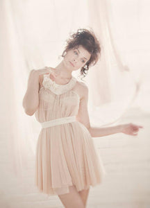 Gorgeous Retro Sheer Babydoll Nightie with Hand Beaded Floral Collar Detail