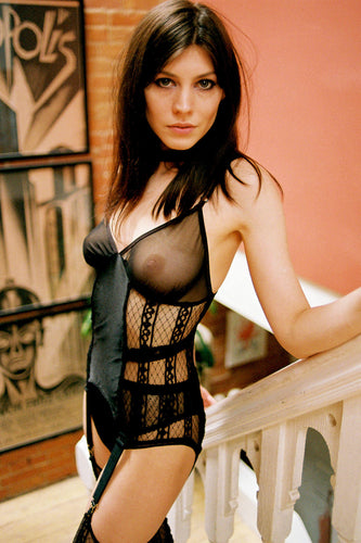 Sheer Lattice Mesh Bustier with Garter Clips