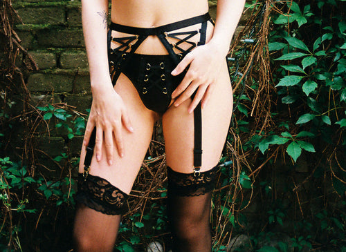 Poison Lace Up Garter Belt