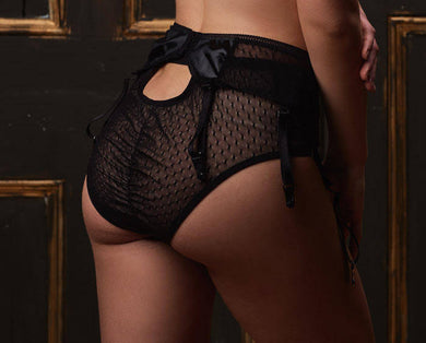 Danika Brief Stretch lace and Flocked Mesh with Keyhole Opening