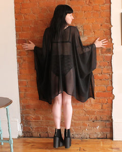 Luxury Draped Black Chiffon Kimono Fashion Wrap