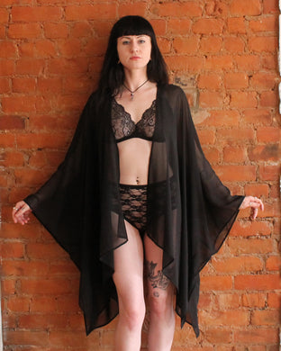 Coven Sheer Chiffon Kimono Robe, Fashion Robe, Beach Cover Up, Gift for Wife, girlfriend, lover, fiancé, anniversary, wedding, birthday
