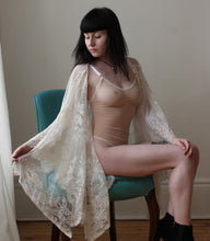 Sophia Delicate cream fringed lace bridal Kimono Fashion Wrap