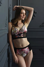 Sakura print Velvet Lingerie longline bralette, mesh luxury gift for her, Wife, girlfriend, lover, finacee, anniversary, birthday