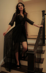 Long Sheer Luxury Erotic Full length gothic burlesque dramatic boudoir robe