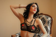 Cropped Sheer Dot Mesh and Floral Applique Bralette for Curvy Girl