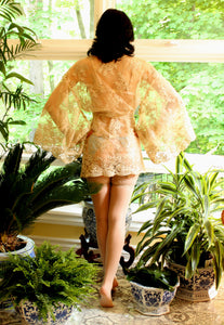 Luxury Scalloped Corded Gold Lace Kimono Style Curvy Girl Robe