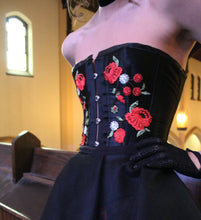 Mercy Overbust Corset Black Satin boned corset with floral appliques