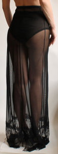 Elegant Sheer Full Length Mesh Festival Skirt & Lace Hem