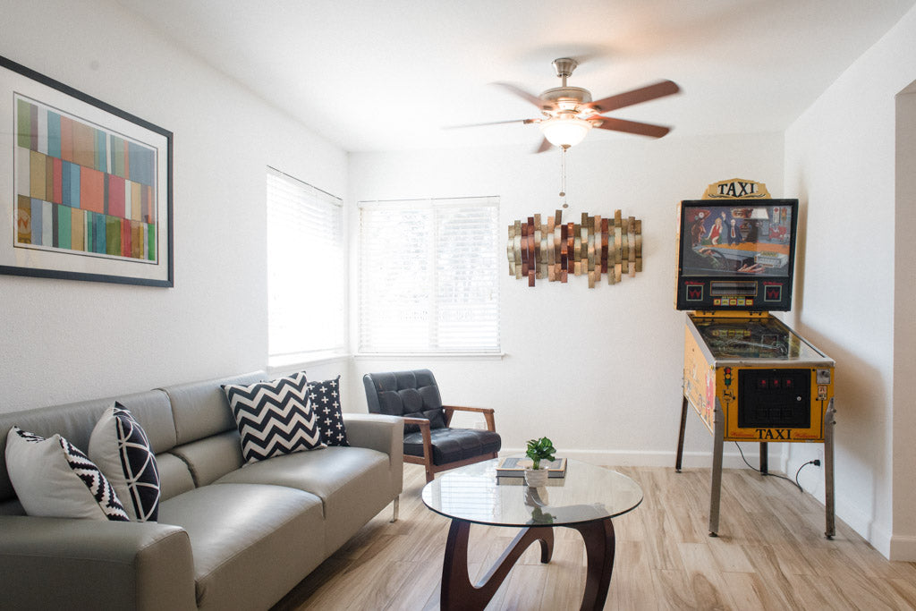 Photo of modern interior with pinball machine, las vegas real estate phography