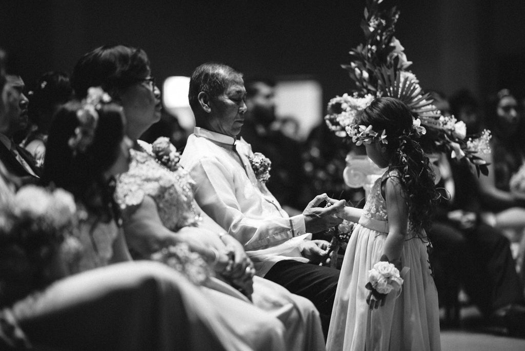 Candid photo with a flower girl during a wedding in a church in Las Vegas