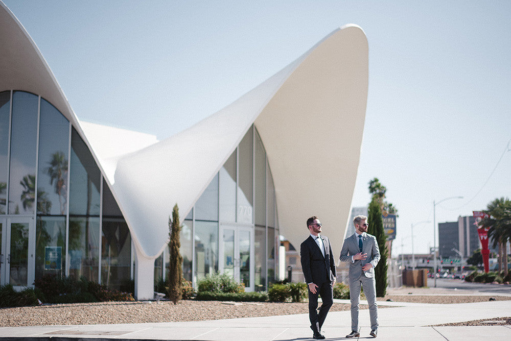 A same sex couple getting married at the Neon Museum in Las Vegas