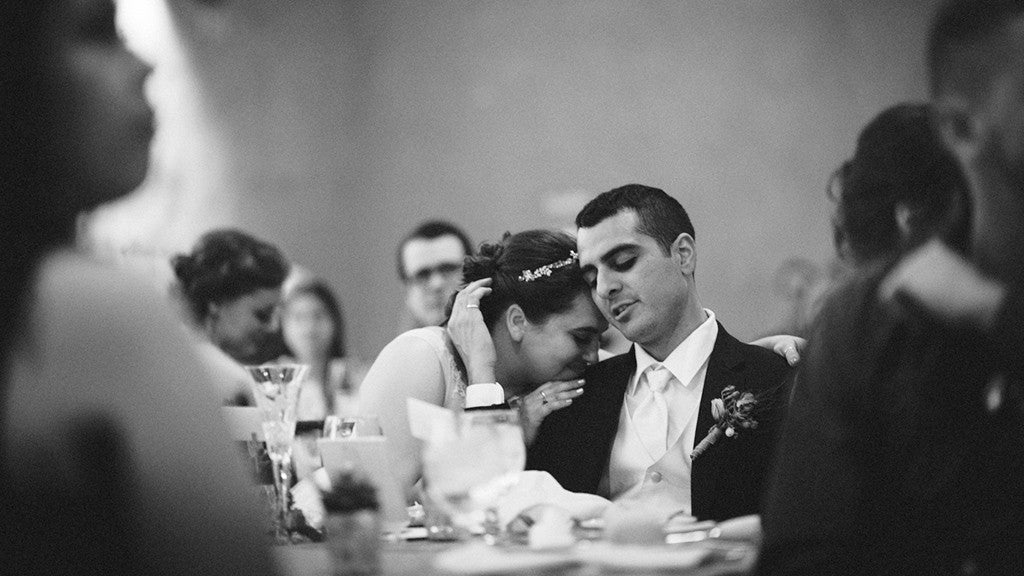A candid photo of the bride and groom at a wedding at the Springs Preserv in Las Vegas.