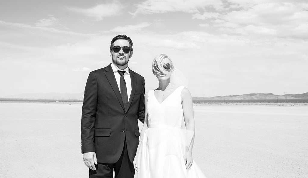 Couple on the dry Lake Bed near Las Vegas before a wedding