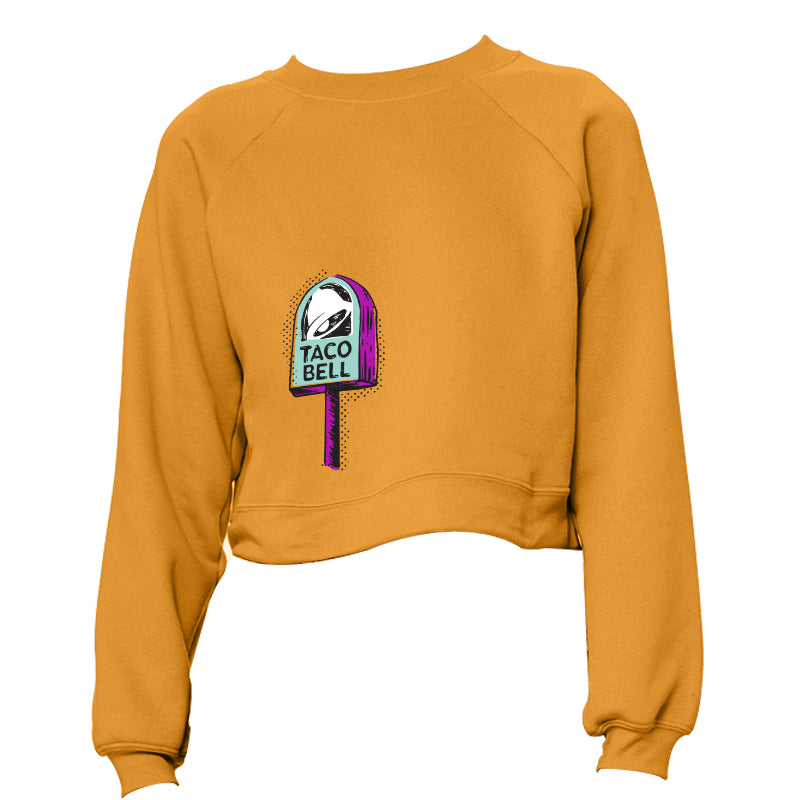 Taco Bell Lollipop Signage Cropped Sweatshirt