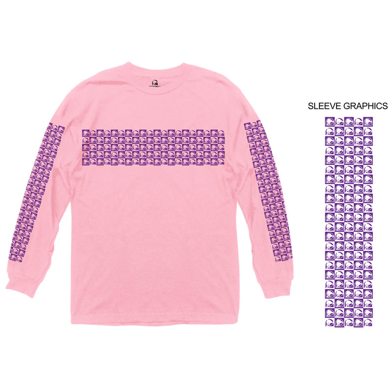 Taco Bell Logo Pattern Pink Long Sleeve Shirt